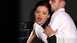 Hot secretary in bathroom shows her hot fucking talent