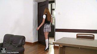 Redhead college girl Kitty Lovedream fucks her teacher