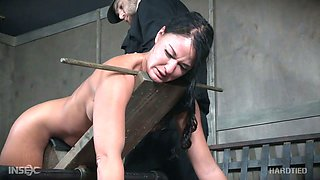 Extreme masturbation is what flexible tied up whore London River needs