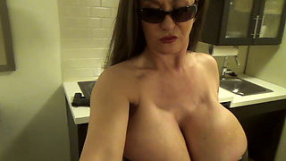 Hot babe with huge tits on cam