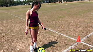 Soccer bimbo Alex More gets down and dirty to taste a wiener