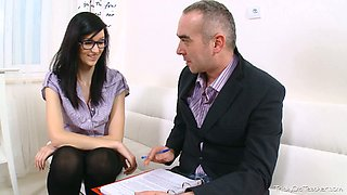 Brunette college girl in glasses seduced by her horny aged teacher