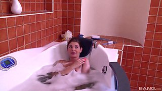 Sexy bath time with Liona Shy and her fuck buddy who is awesome