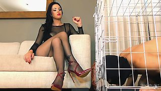 Brunette and caged man