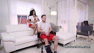 Injured bg gets nurse show from sexy gf