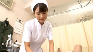 Japanese nurse with gloves fuck patient
