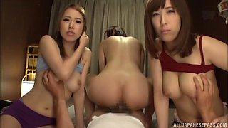 Three gorgeous Japanese women are curious about a dick