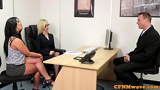 Office CFNM milf sucking dick in a foursome
