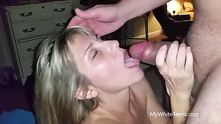 37yr old MILF swallowing in front of husband