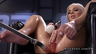 blonde fucking machine and squirting