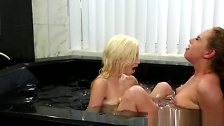beautiful blonde lesbians scissoring in bath