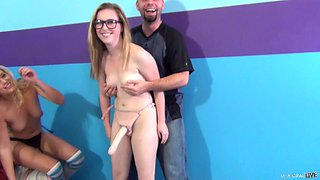 Divine cowgirl in glasses getting feasted using strapon dildo