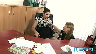 Nerdy busty brunette boss gets lured by naughty secretary for lesbian sex