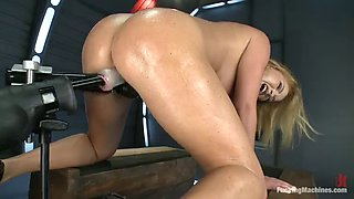 busty blonde loves her fucking machines