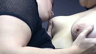 Lesbian time with two milk skinned BBW amateur bitches