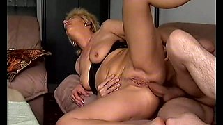 German blonde old mom has fun with her lover in her place. Tasty video