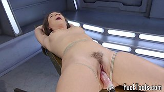 BDSM beauty drilled with machines and toyed