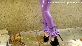 Horny homemade Latex, Solo Girl sex clip