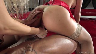 Glamour blonde Monique Woods and her nasty GF are fucked by one cocky guy