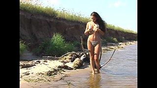 Slinky bikini on a super tight body brunette babe stripping lakeside