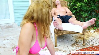 Alluring teen with huge full natural jugs Marilyn Mansion is fucked hard by the poolside