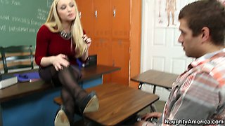 Horny blonde teacher Aiden Starr wears her best lingerie for her handsome student