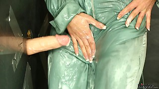 Charming blonde covered in cum moans in pleasure as she plays with a huge dildo in pov