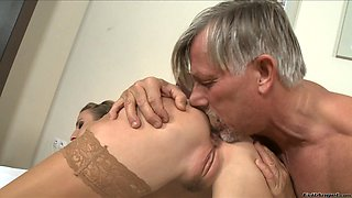 Horny blonde in stockings getting her anal plumbed hardcore by an oldman