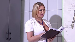 Leigh Darby is a nurse with big tits great at making a dick stiff