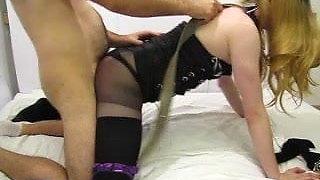 crossdresser takes hard anal