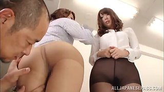 asian cowgirls in ffm threesome getting rocked hardcore