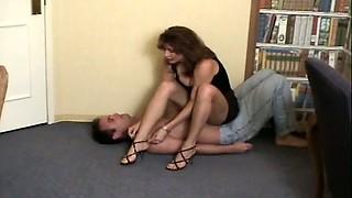 Busty chick prefers trampling her new boyfriend