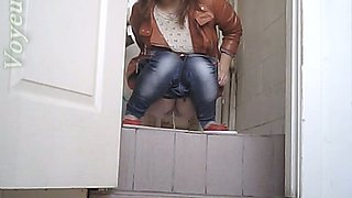 White stranger chubby white chick in the toilet room
