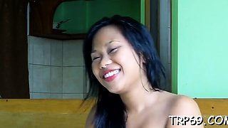 Small thai floozy makes a lad entranced with her skills