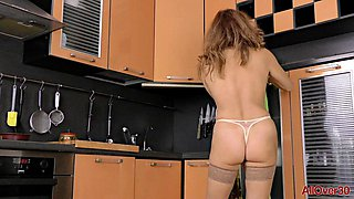 Older hottie show you all she has got in her own kitchen