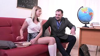 Lovable schoolgirl gets seduced and fucked by elderly mentor