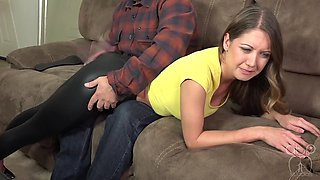 Slut spanked by daddy in shiny leggings