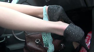 Nasty hitch-hiker April Paisley gives blowjob in the car and gets rammed on the back seat