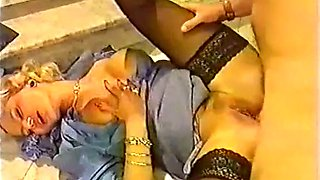 Sweet and sexy blonde babe in black stockings assfucked on the stairs