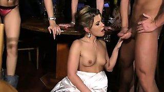 Bride Sandra fucks a stripper and a waiter at her CFNM