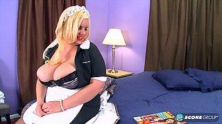 Big ass fat blonde maid gets her twat cum filled