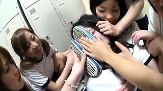 Cute Japanese teen gets used by her wild lesbians friends