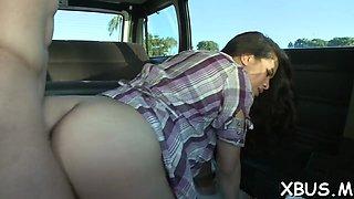 slut strips off to fuck in a bus film video 1