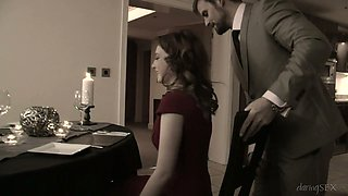 English beauty Lola Gatsby gets pussy fucked in standing pose