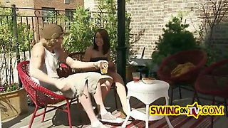 swinger reality show presents two sexy couples preparing for amazing foursome sex