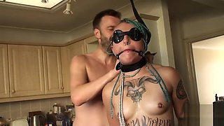 Gagged uk slave throated and pussy banged