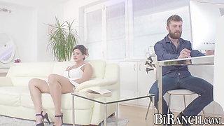 Hardcore bisexual threesome with Euro hunk fucking