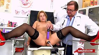 Hot doctor gaping and cumshot