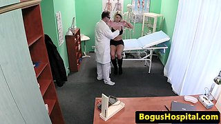 Busty patient creampied by lucky doctor