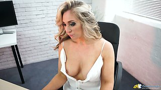 Blonde Kellie O Brian and her super perky hard nipples popping out of her blouse